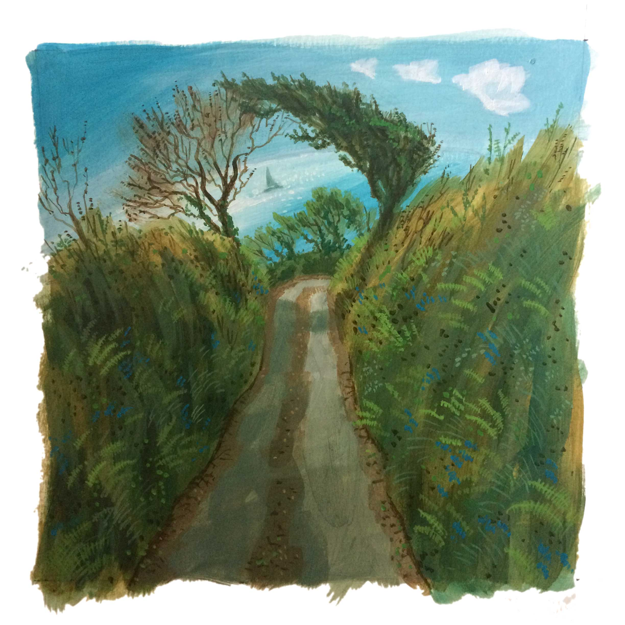 Sunken lane passes beneath windswept trees with a glistening sea beyond