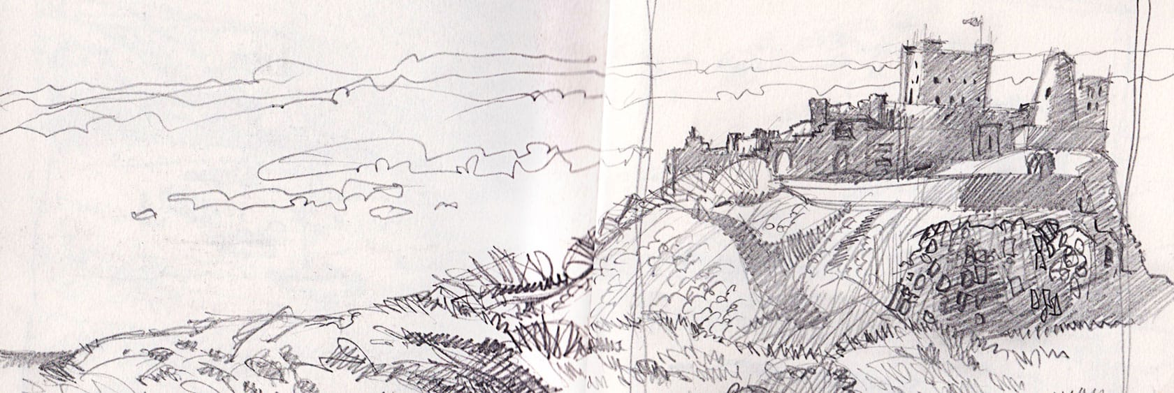 A pencil sketch, quite quick, of the castle with detail of the mound it sits on