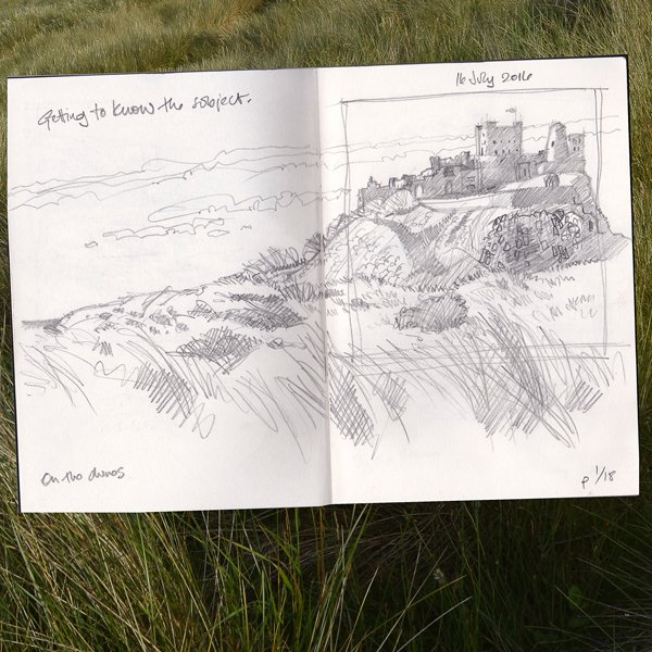 Sketchbook showing sketch of Bamburgh Castle