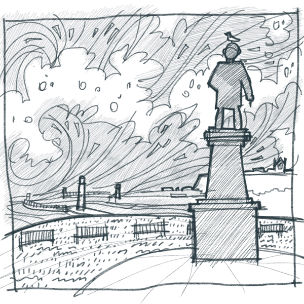 A sketch of the statue in Whitby