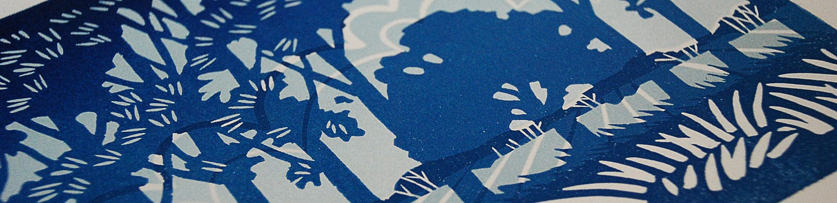 Detail of The Mighty Oak lino print
