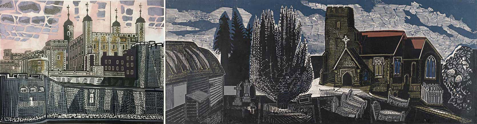 Two prints by Edward Bawden