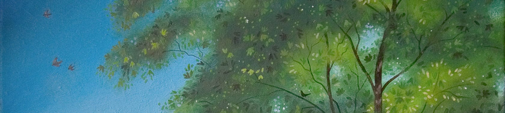 Detail showing the approach to painting tree foliage with light from behind