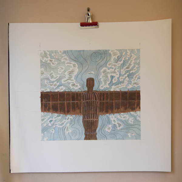 Angel of The North linocut