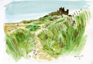 A path leaves the dunes down to the beach with yellow flowers either side and the castle beyond