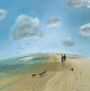 An intense light sky with fluffly clouds above a wide sweeping sandy bay, a couple walk their dogs