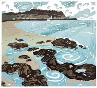 Scarborough South Sands linocut