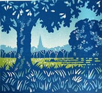 Blue and green block print inspired by Harrogate Strays