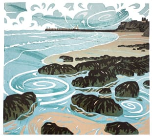 Whitby Sands linoprint