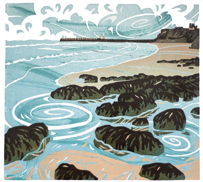 Linocut of Whitby from the North
